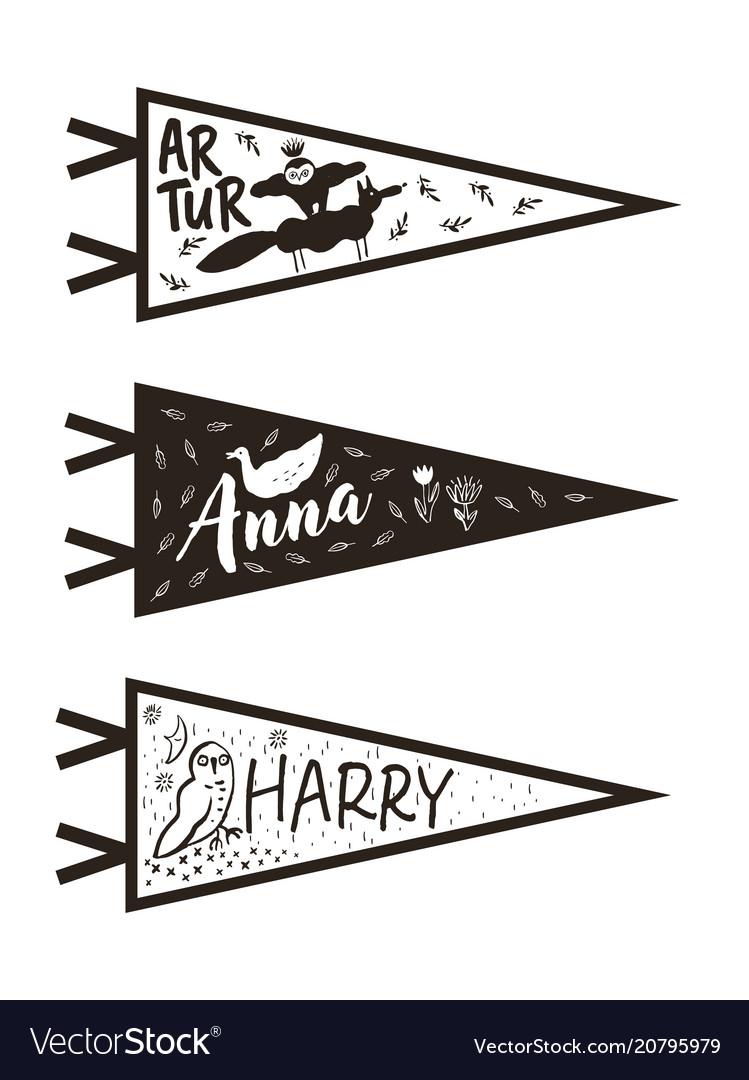 Hand drawn adventure pennant flags set