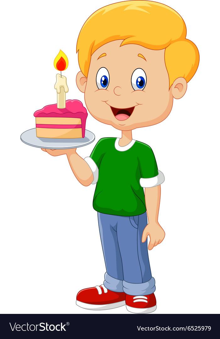 Groovy Little Boy Holding Birthday Cake Isolated Vector Image Funny Birthday Cards Online Inifofree Goldxyz