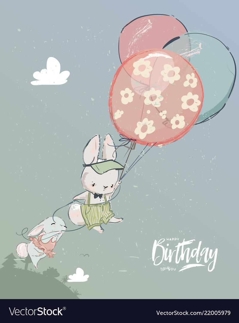 Little hares fly with balloon