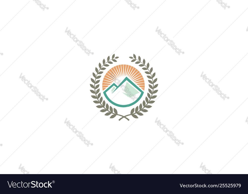 Mountain education logo emblem icon