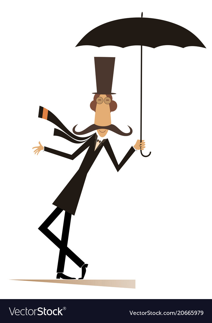 Mustache man in the top hat with umbrella vector image