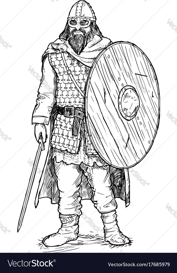 Pen and ink of viking warrior with sword and