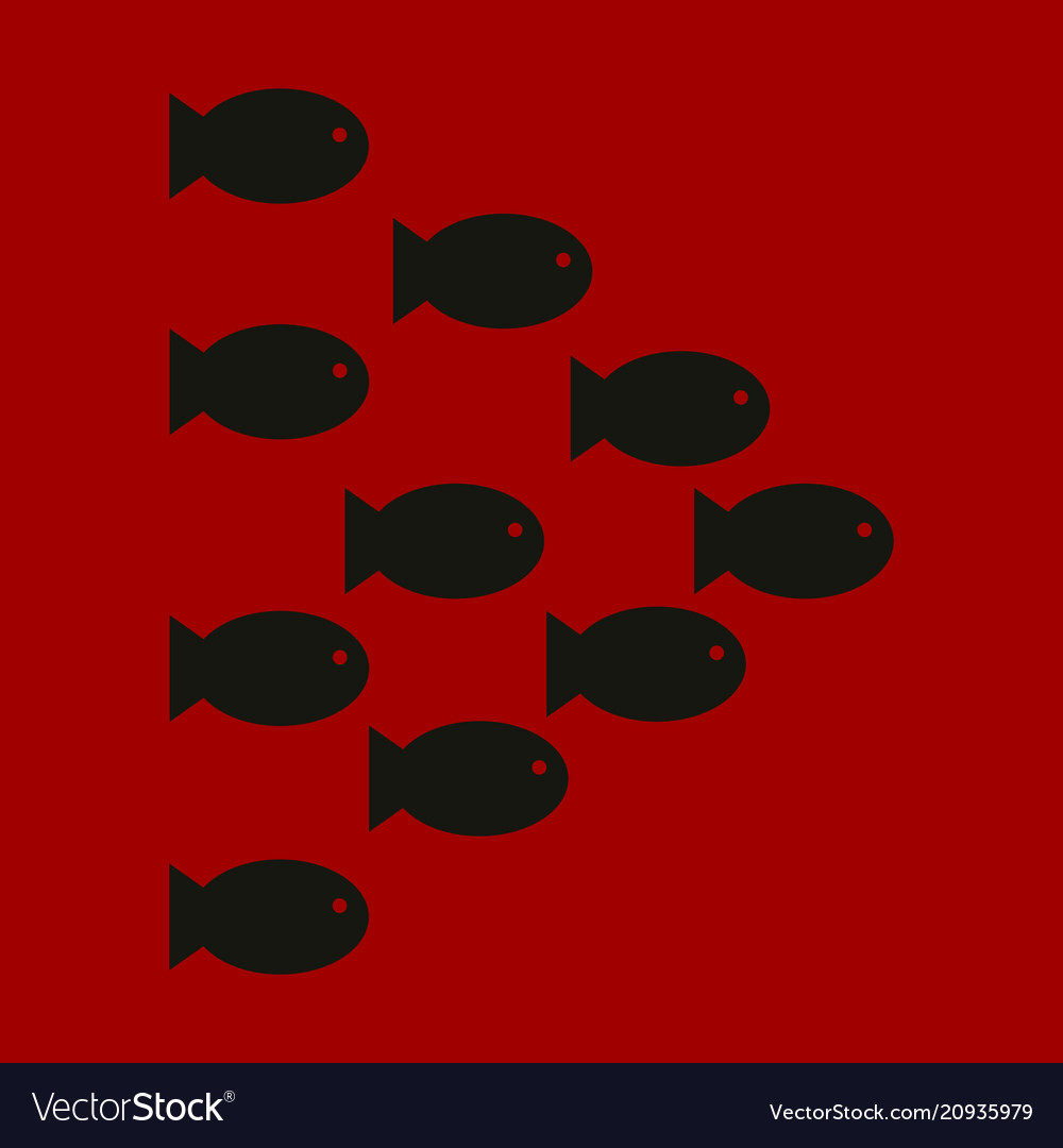 set silhouettes of groups of sea fishes colony of