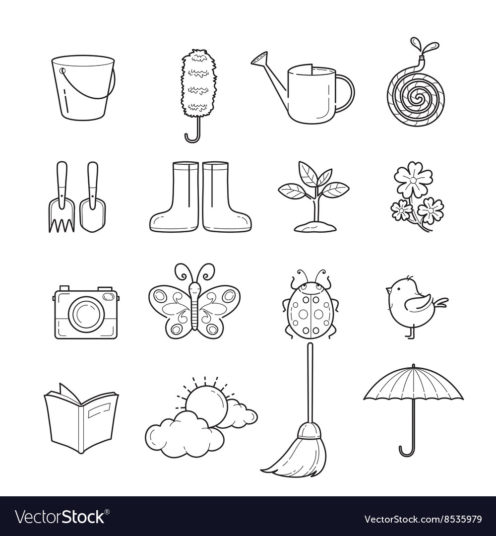 Spring Outline Icons Set vector image