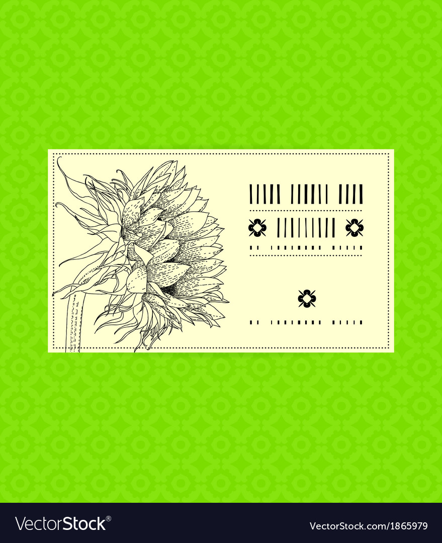 Vintage card with sunflower