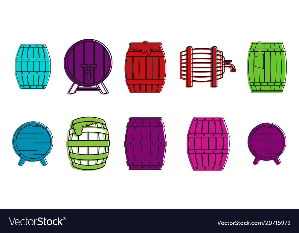 Wood barrel icon set color outline style
