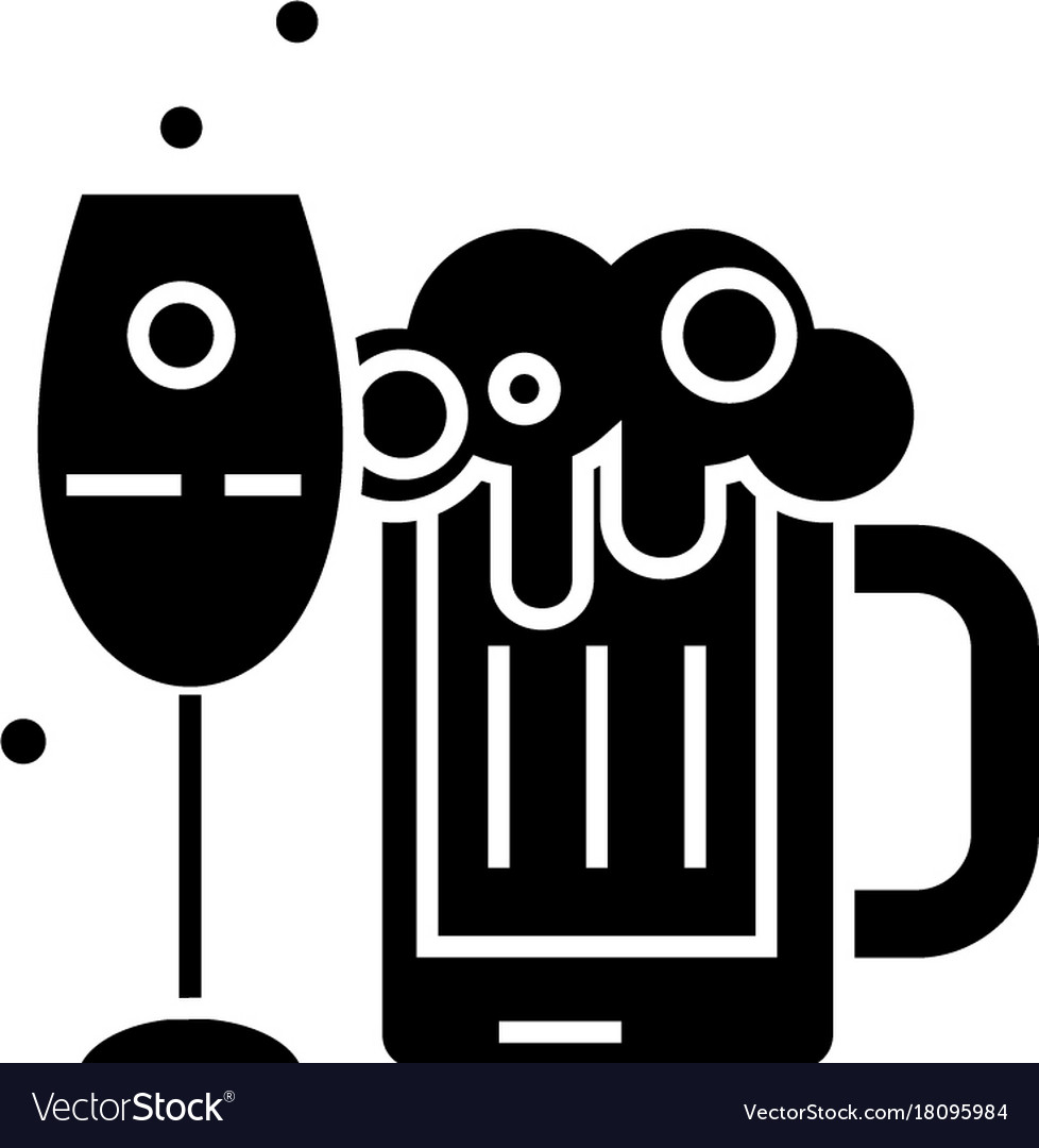 Alcoholic drinks icon black vector image