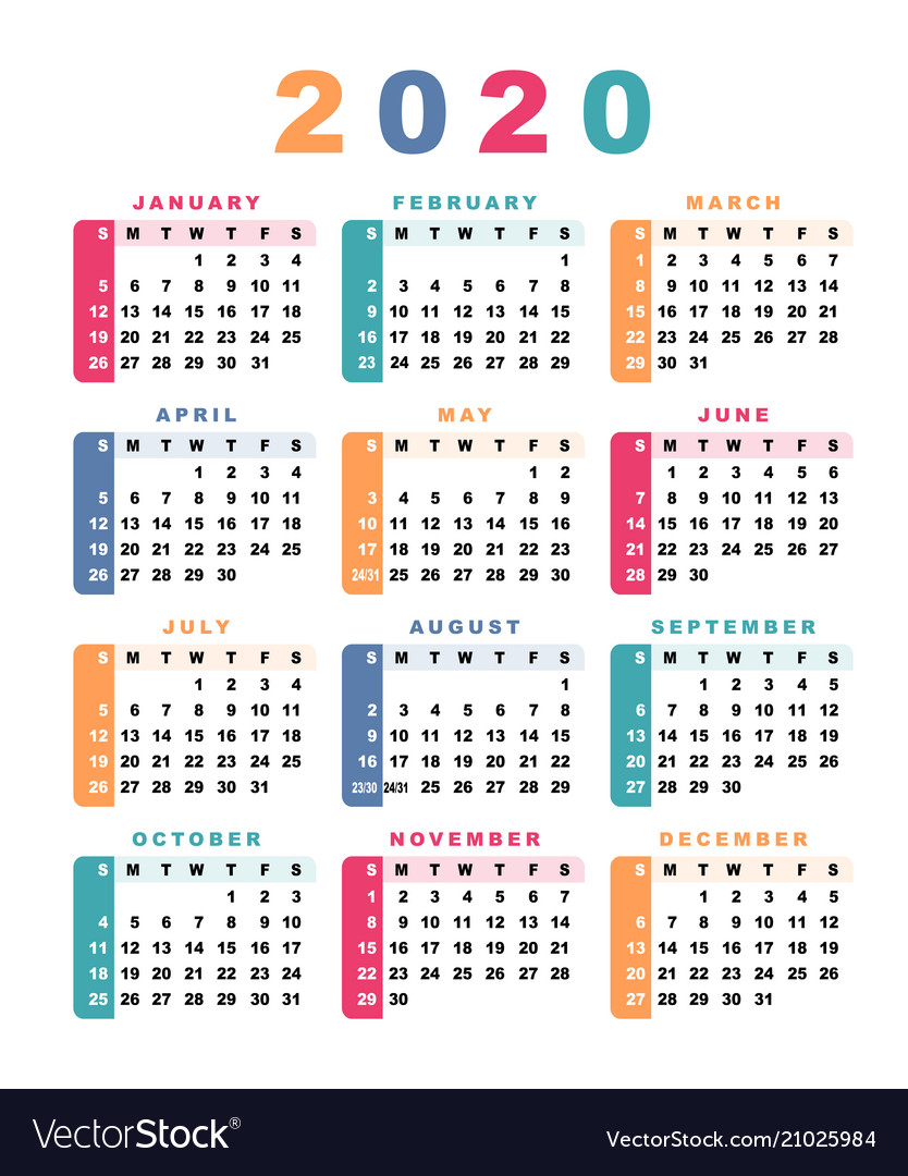 Calendar In Weeks 2020 Calendar 2020 week starts with sunday Royalty Free Vector