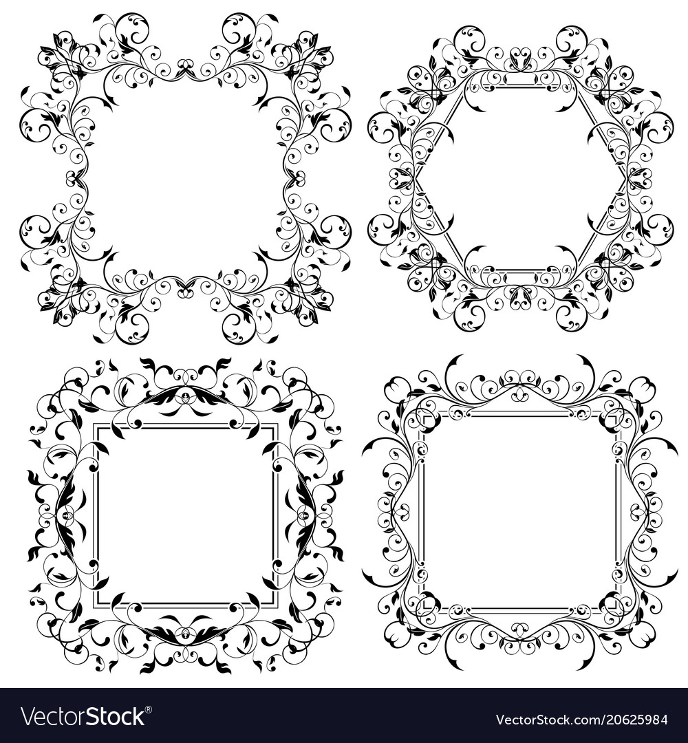 Floral frames filigree ornaments Royalty Free Vector Image