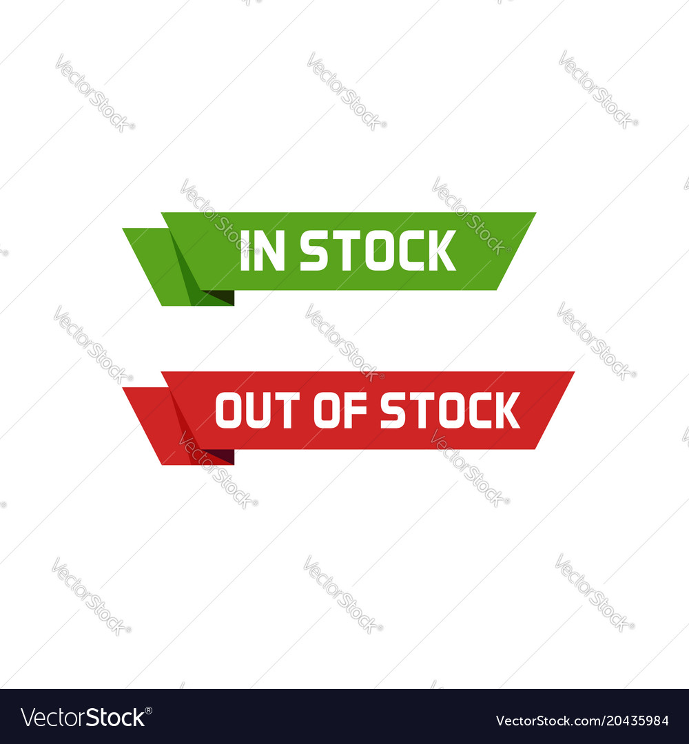 In stock sign and out of stock text badge
