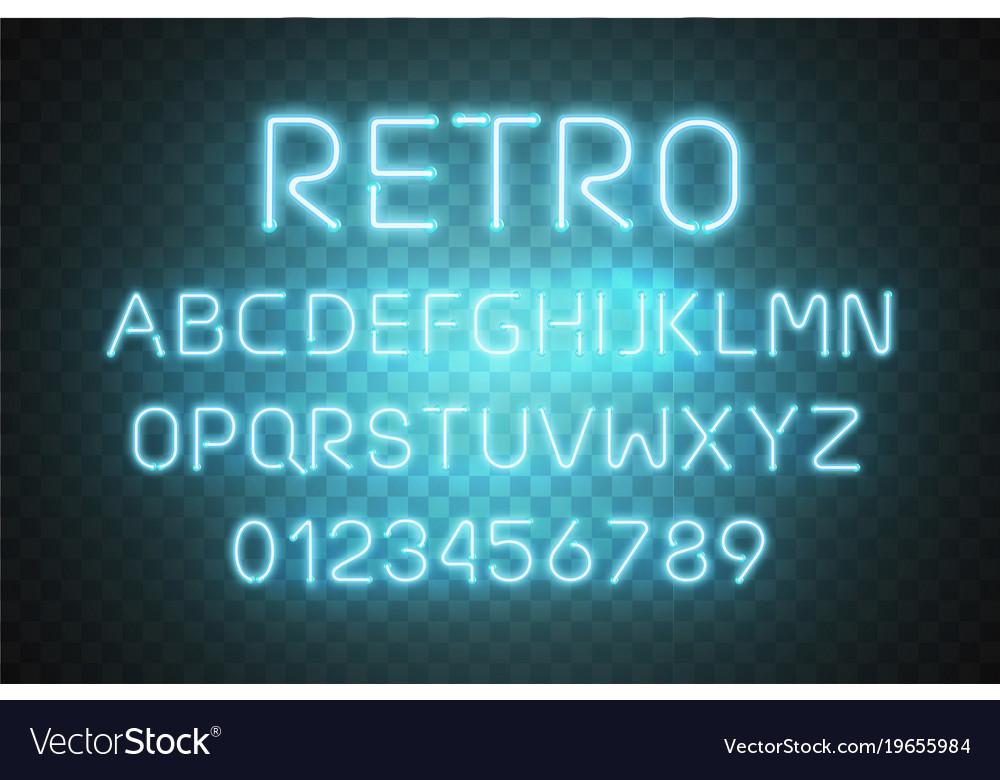 Light neon font alphabet glowing text