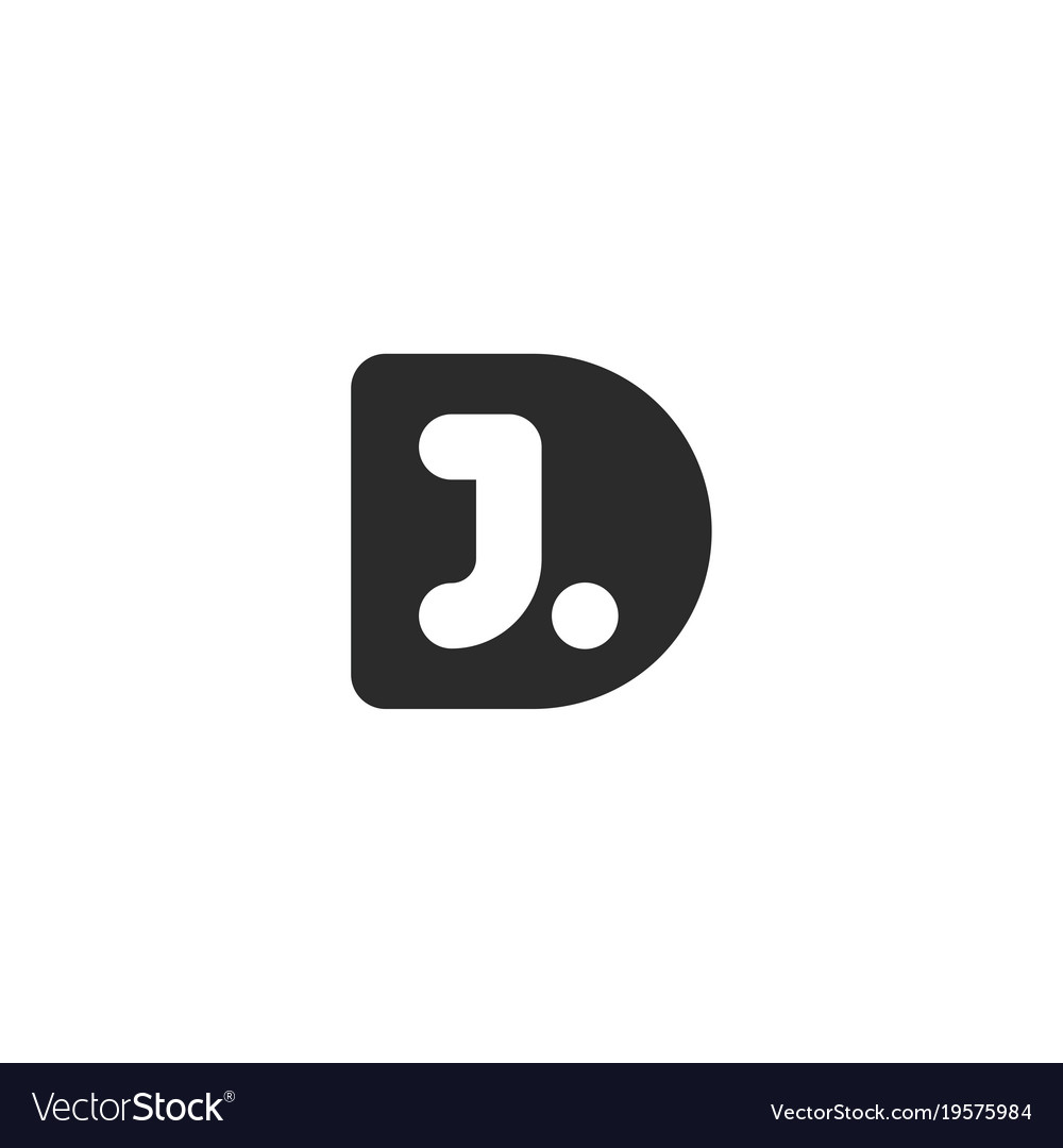 Monogram logo made from black letters d and j