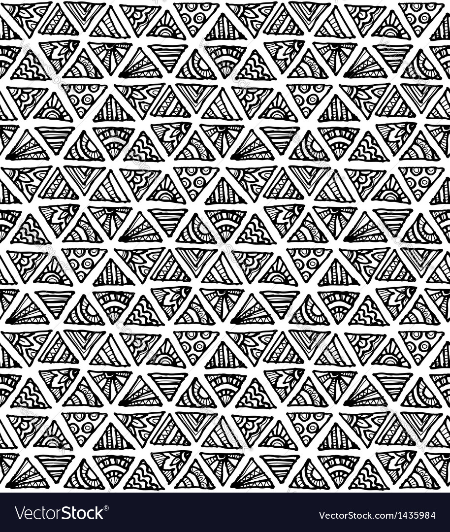 Ornate hand-drawn black and white triangles vector image