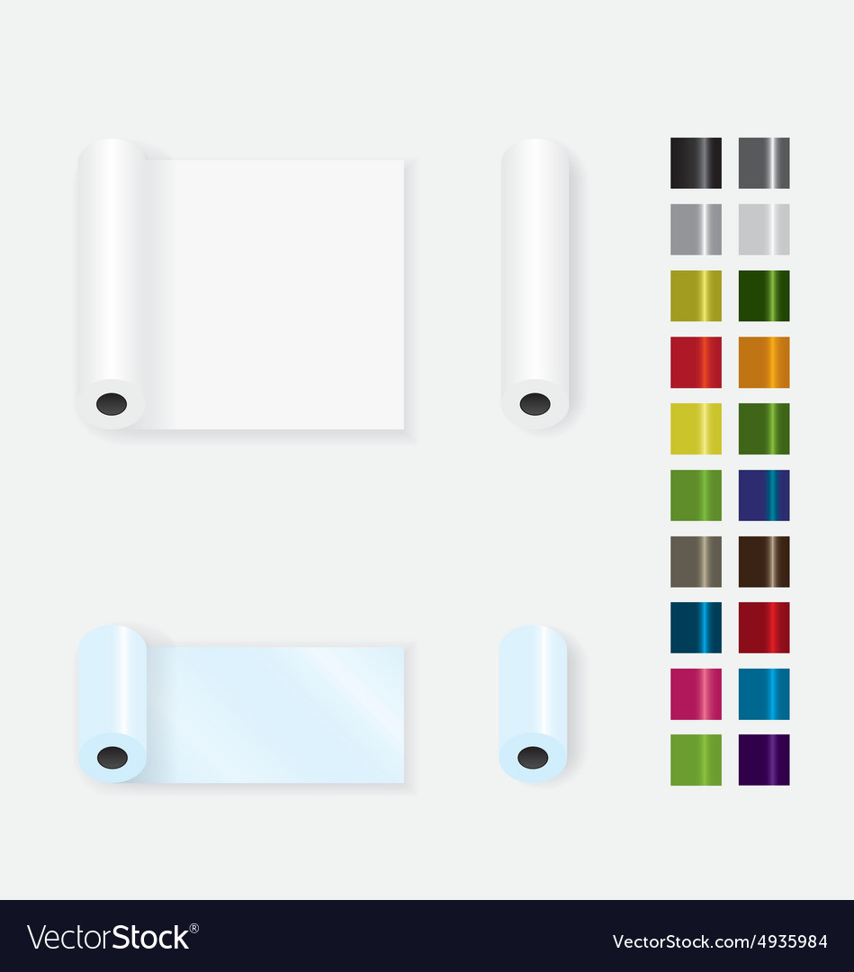 Roll up paper different color vector image