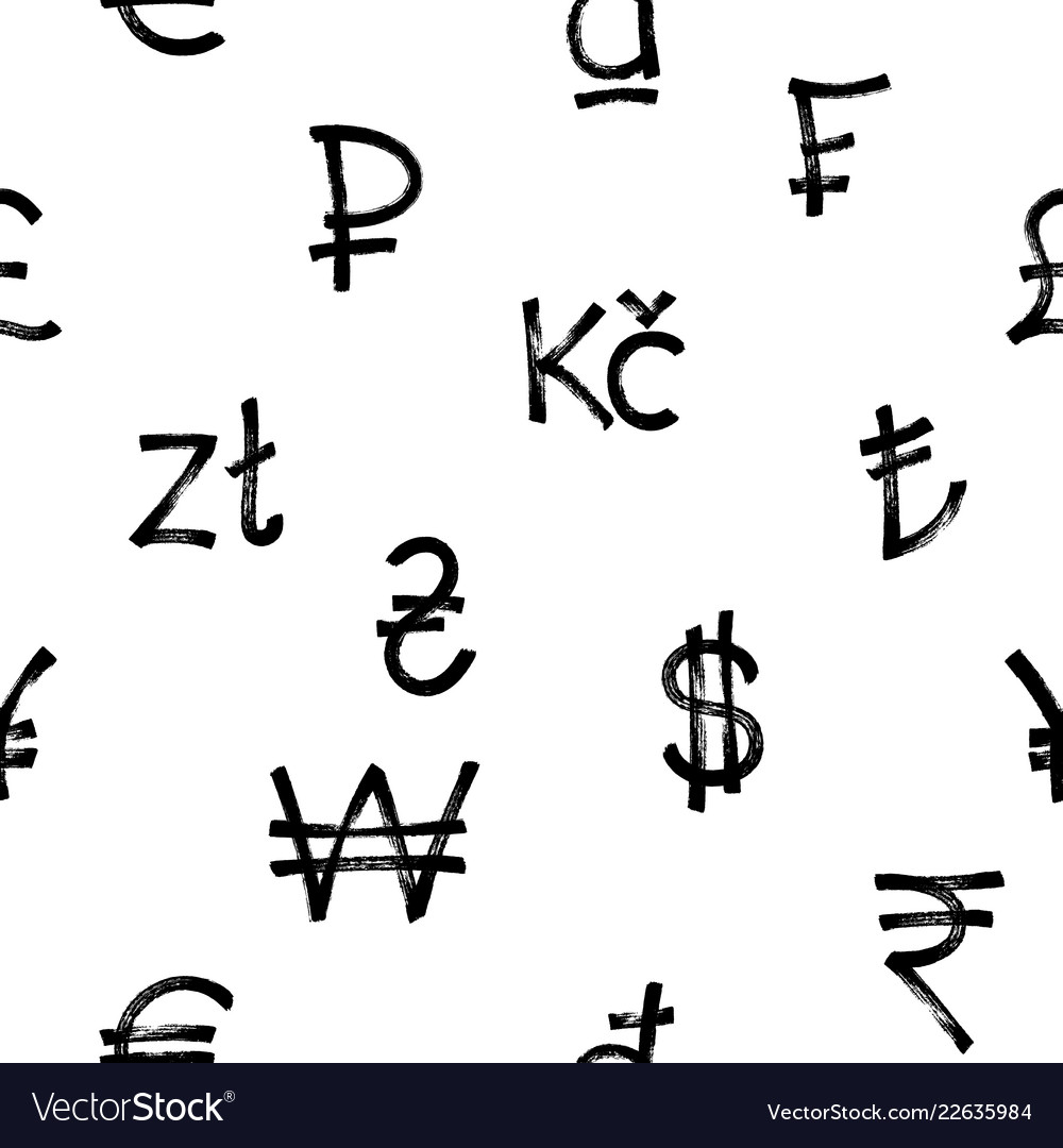 Seamless pattern of world currency icons black