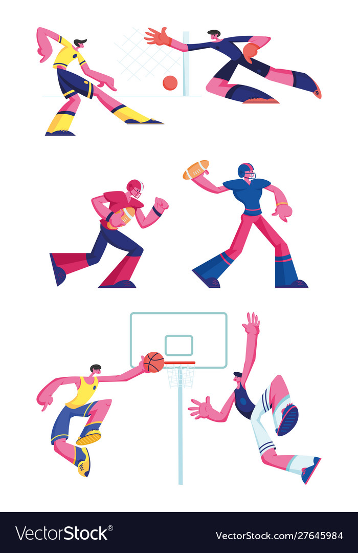 Set football rugand basketball players