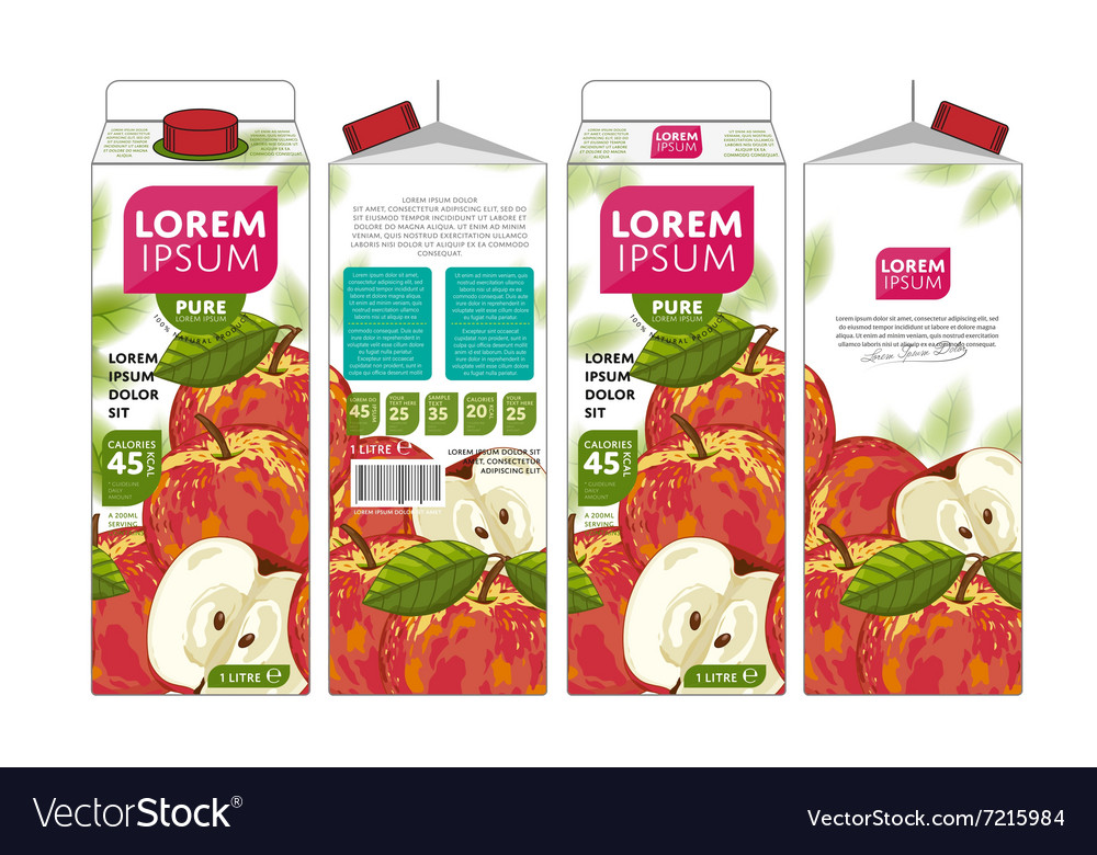 Template Packaging Design Apple Juice vector image