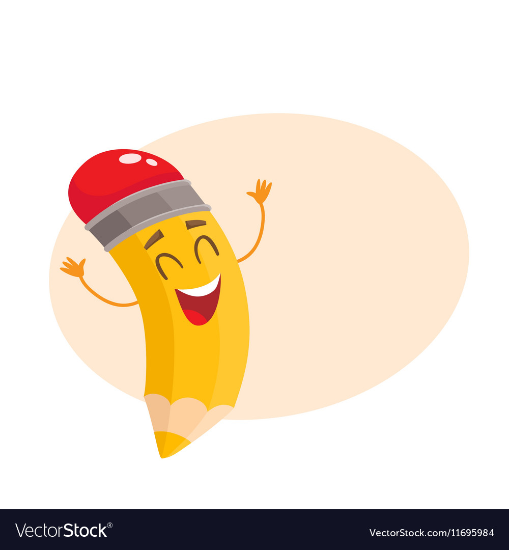 Yellow cartoon pencil celebrating success