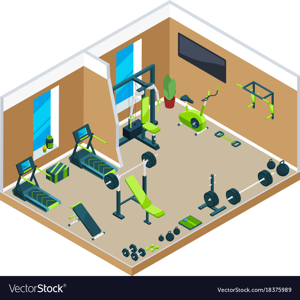 Vector set of gym interior flat posters banners stock vector