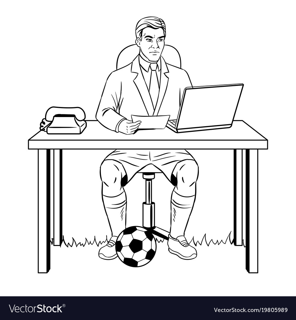 Businessman soccer coloring book Royalty Free Vector Image