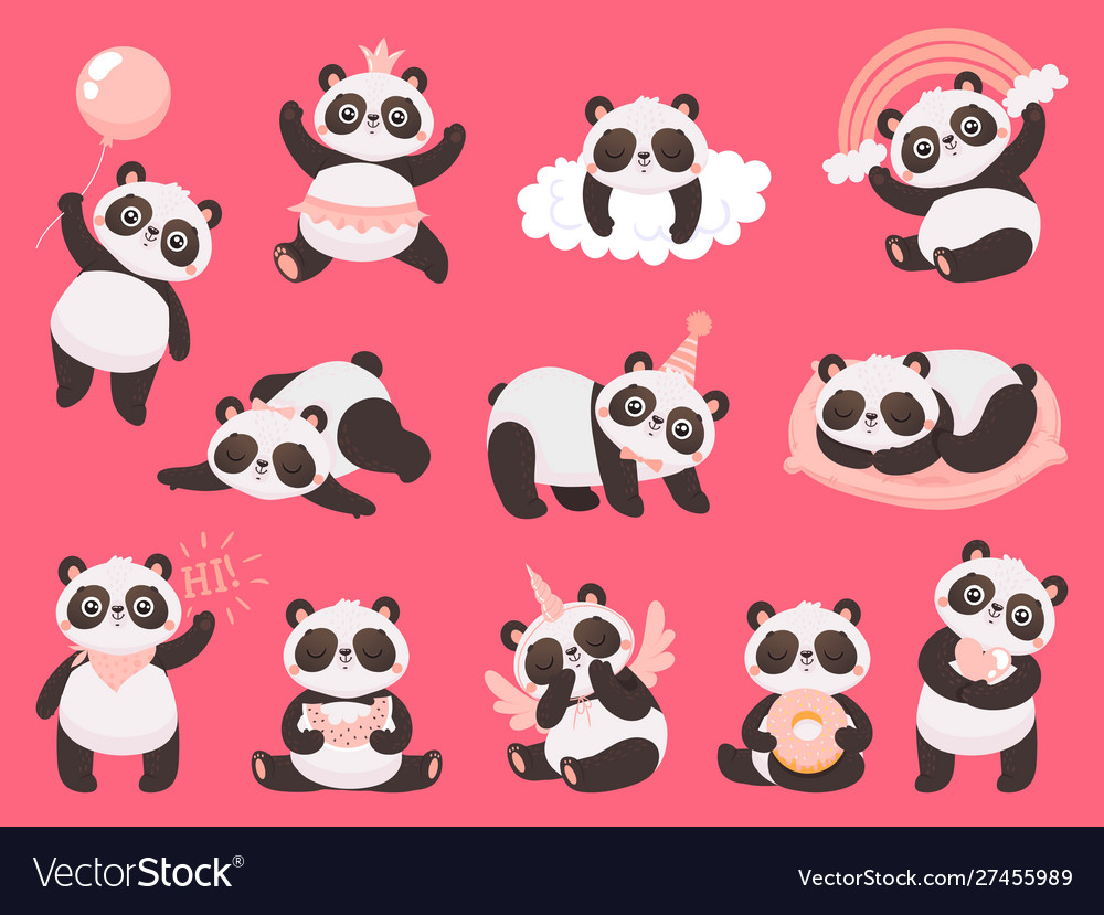 Cartoon cute panda little bapandas adorable