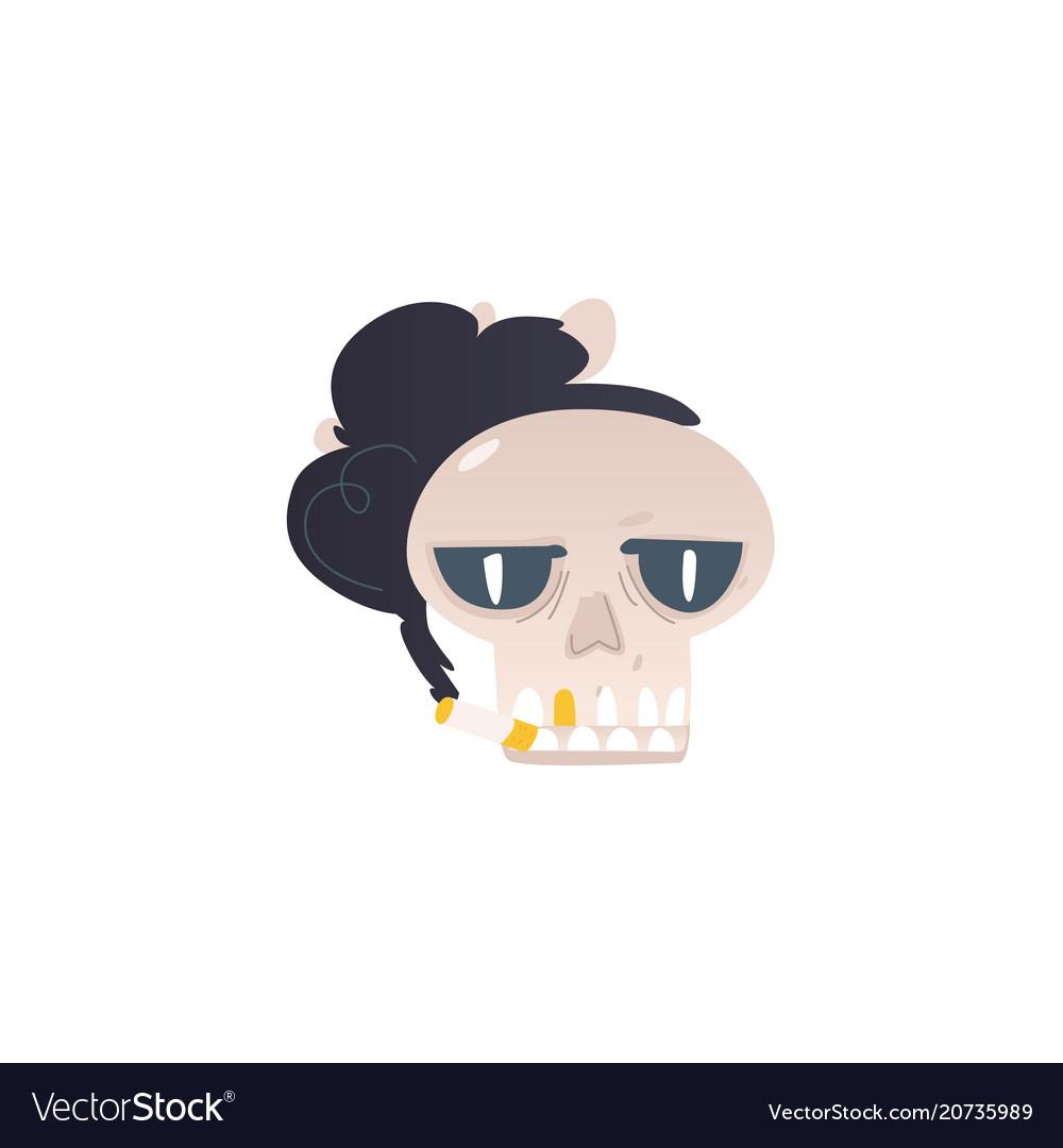 Cartoon skull smoking cigarette