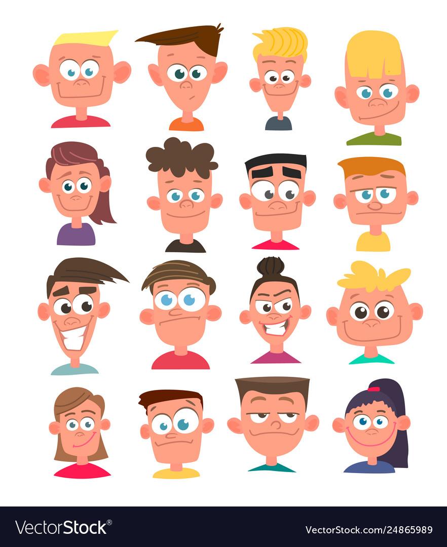 Characters avatars in cartoon flat style