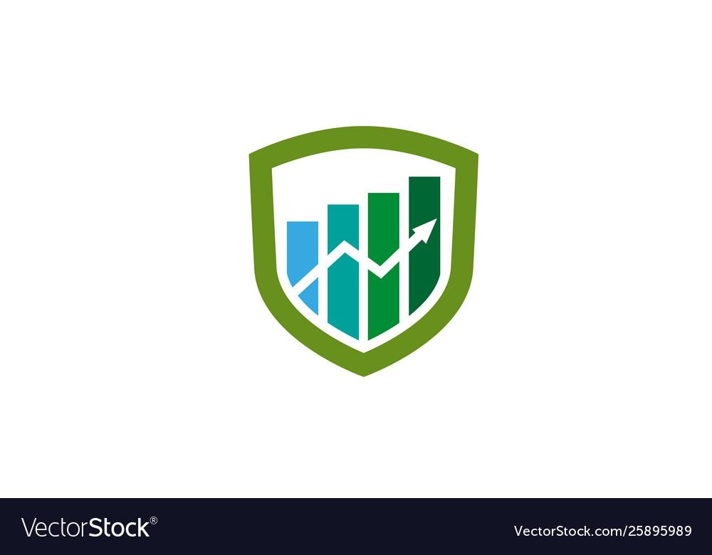 Creative shield statistic chart arrow logo design