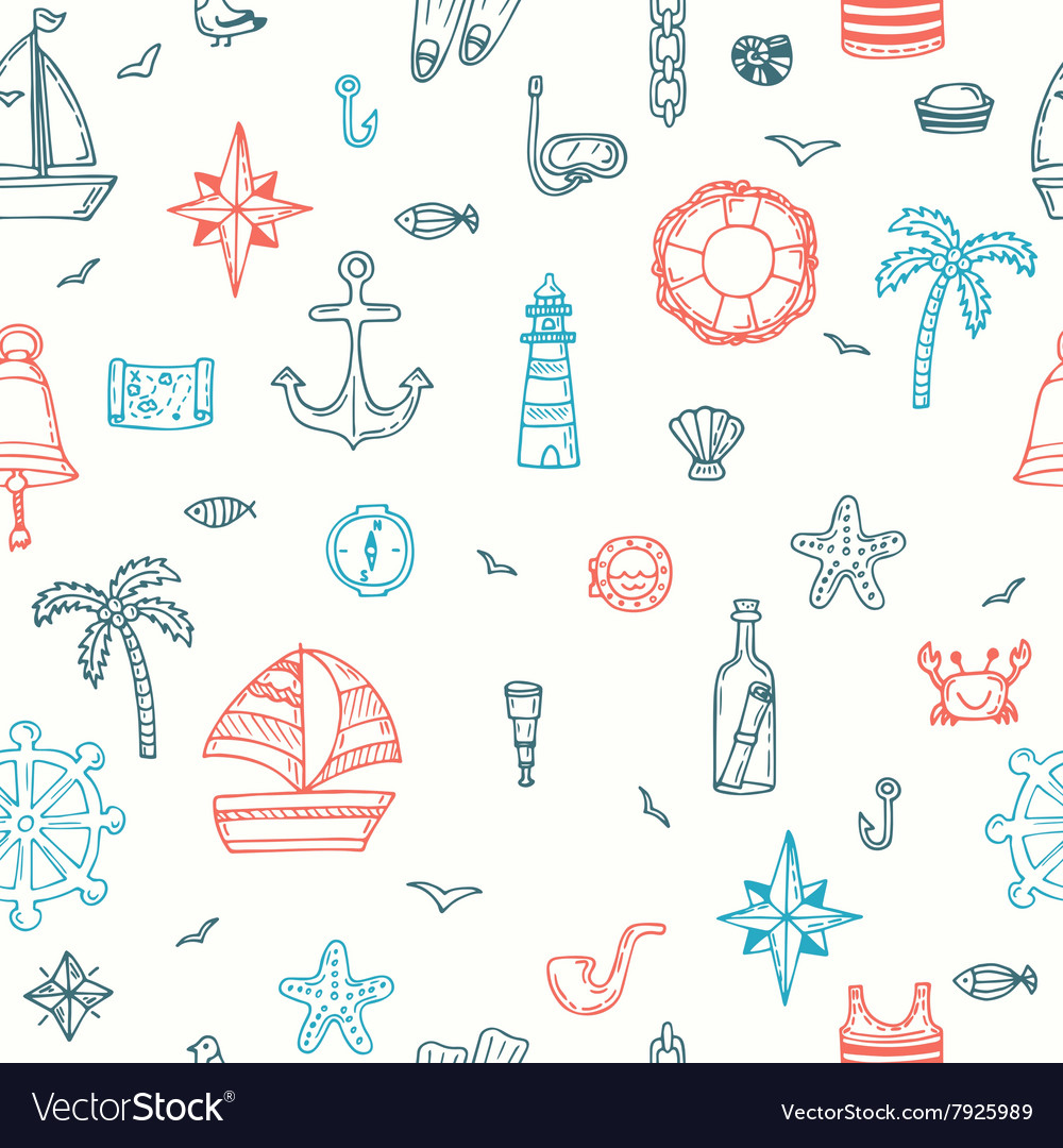 Cute hand drawn seamless pattern with nautical