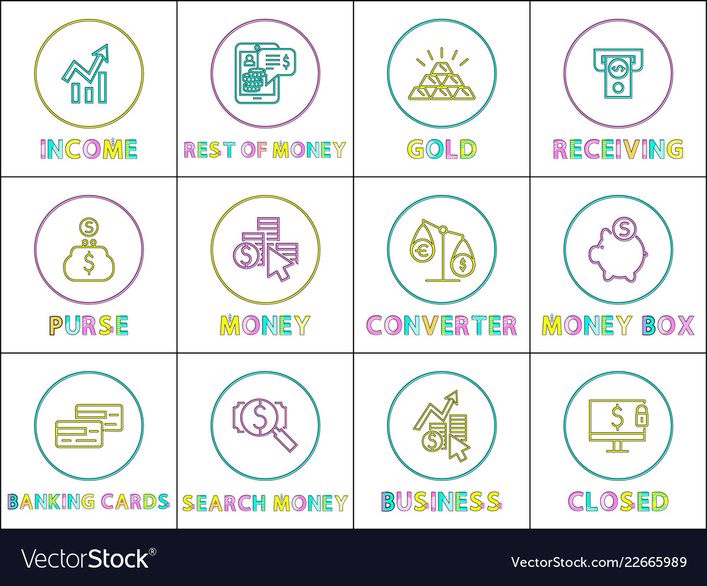 Income And Gold Receiving Set Vector Image