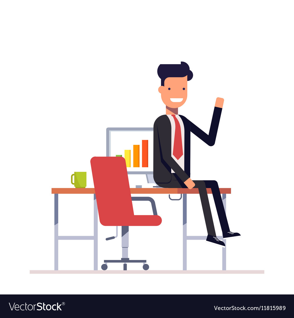 Lazy businessman or manager sitting at the table