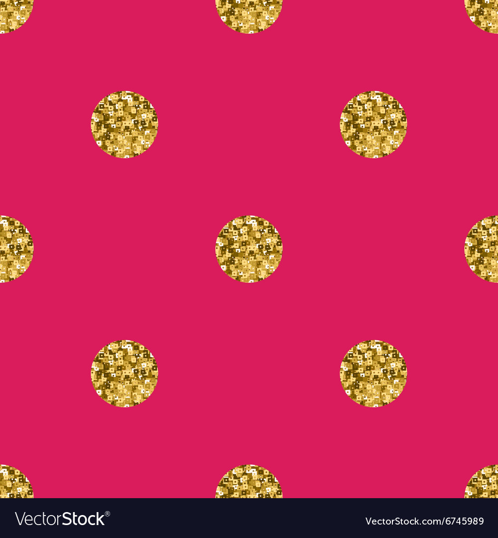Pattern polka dot gold on pink background