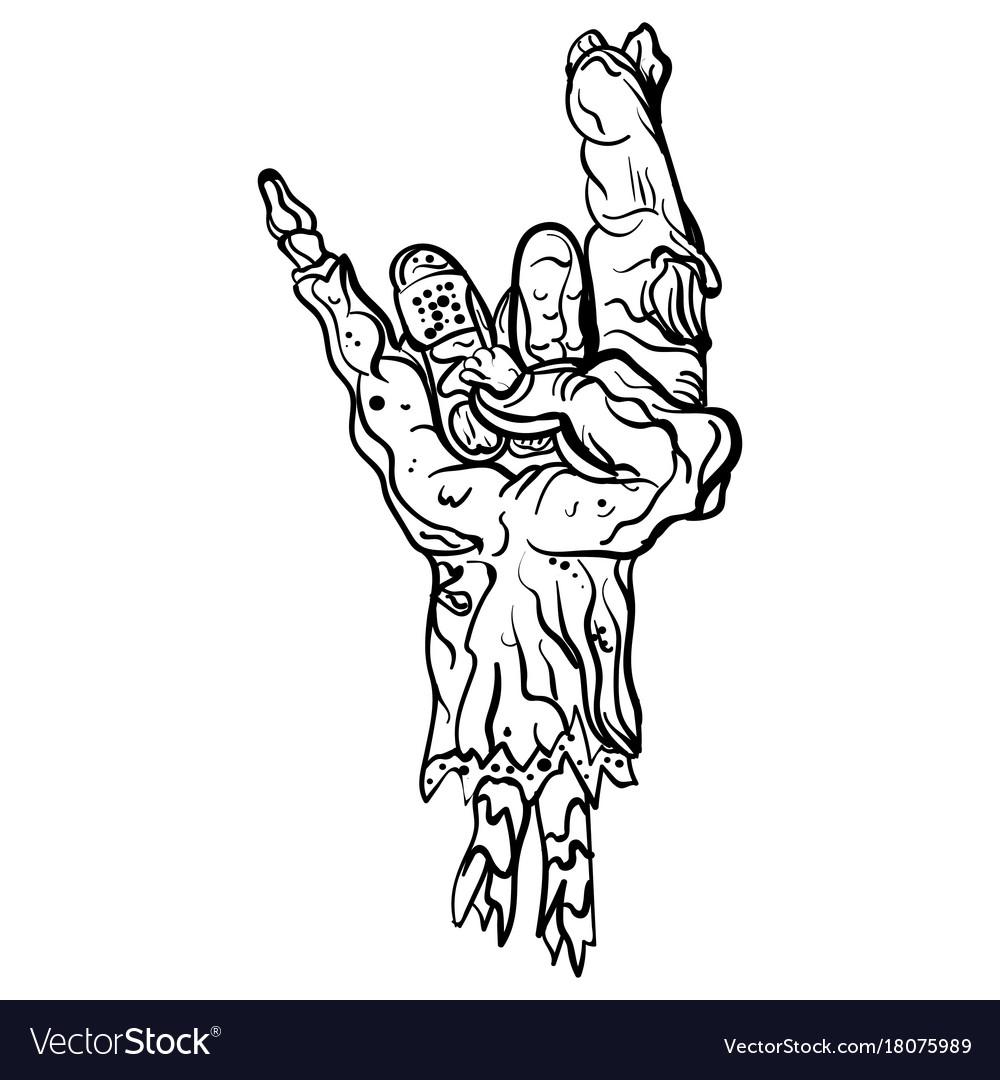 Rock zombie hand heavy metal sign rock gesture vector image