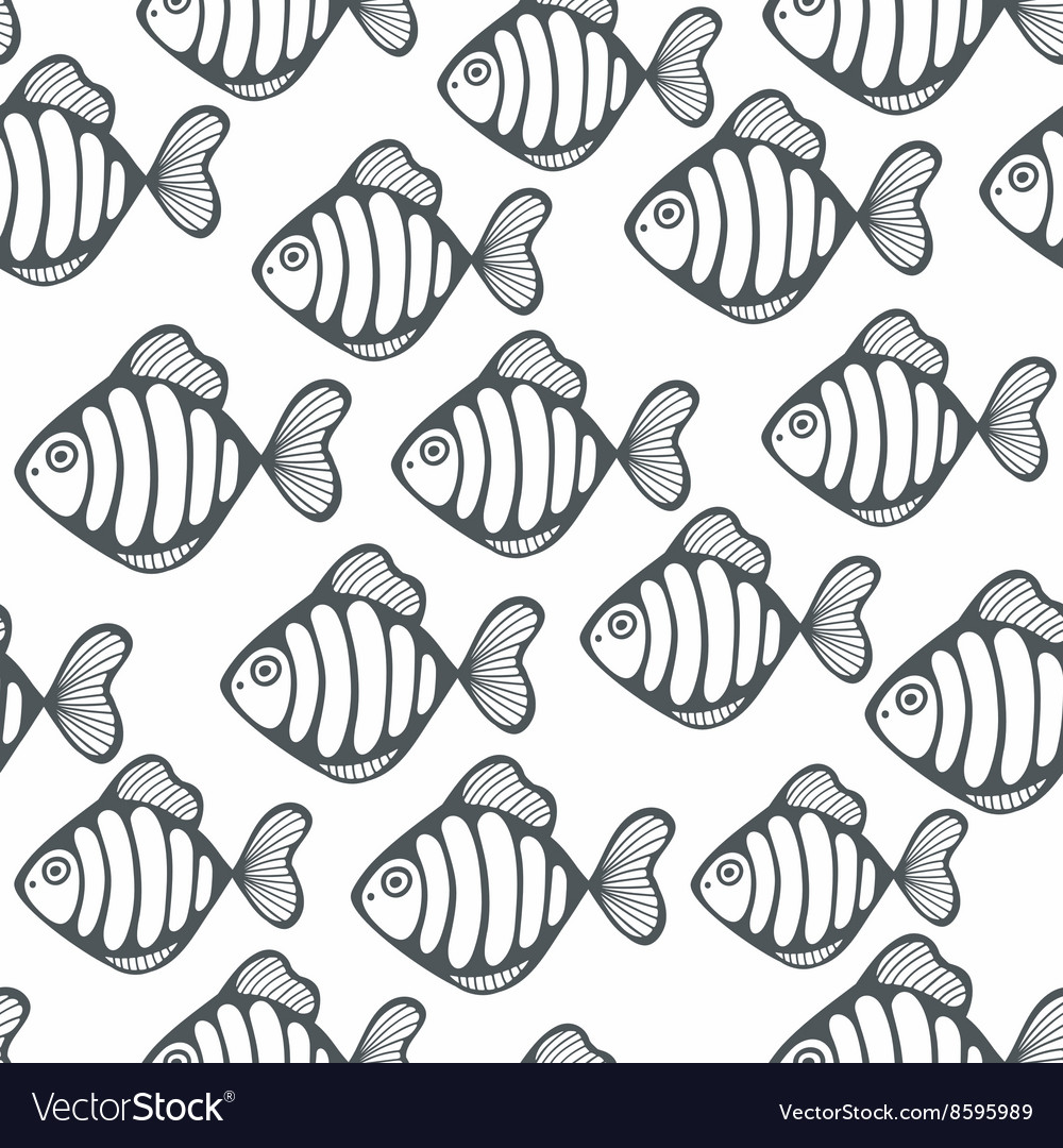 Seamless pattern with black and white fishes