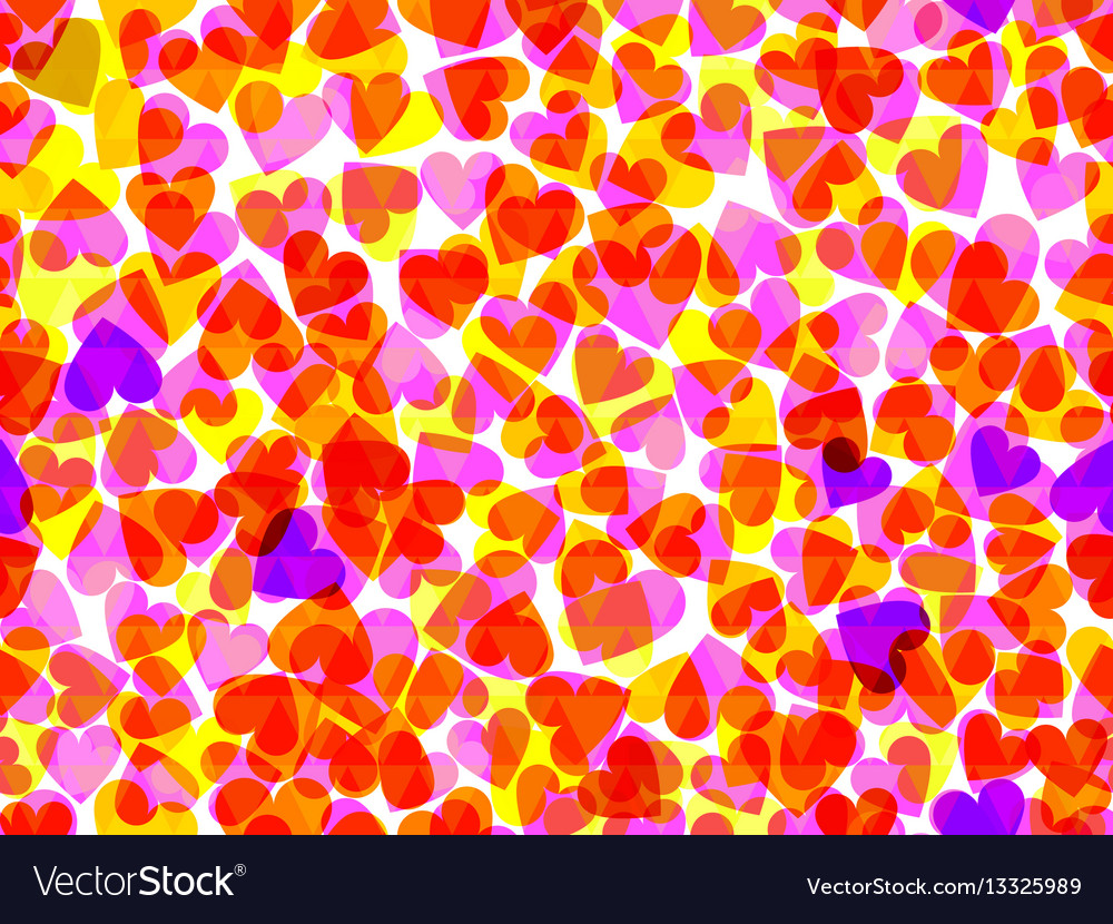 Seamless pattern with hearts bright background vector image