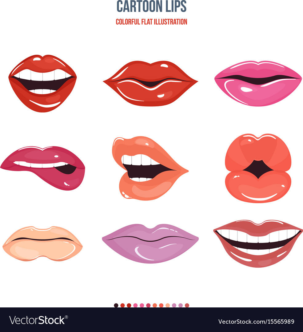 Set female lips with a variety of emotions vector image