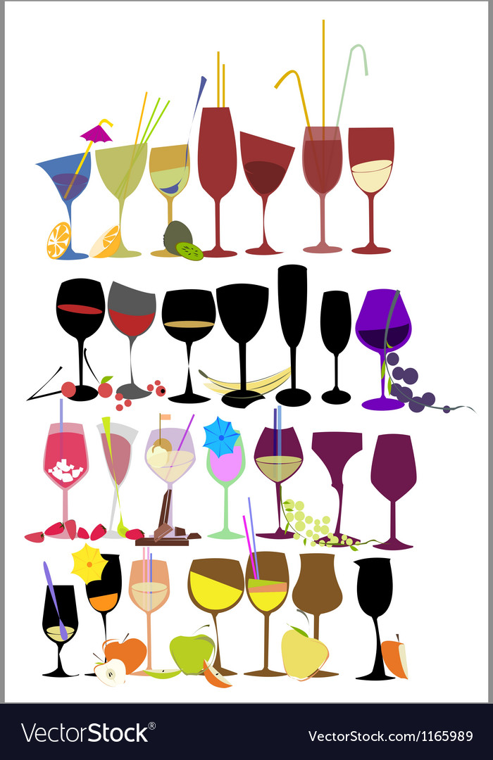 Set of fruit cocktail glasses vector image