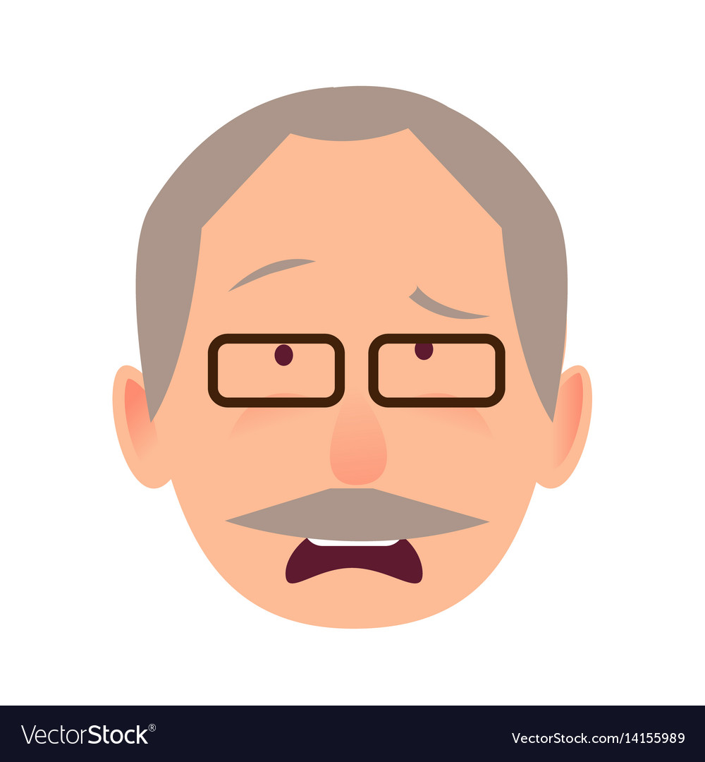 Sorrowful face emotion on elderly man head vector image