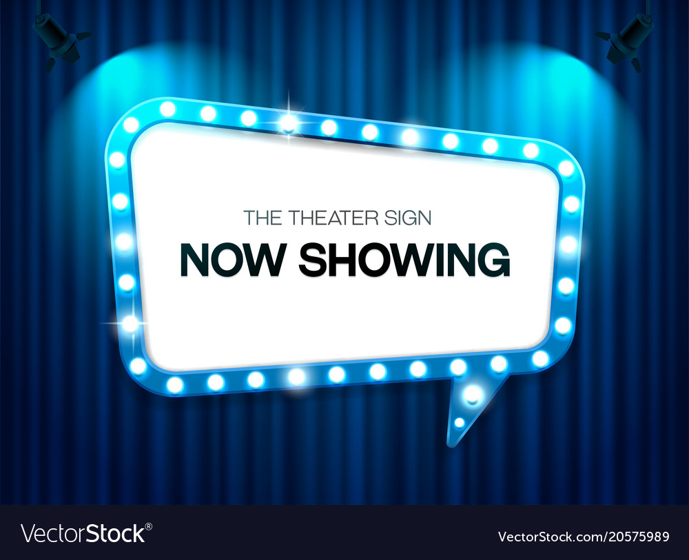 Theater sign on curtain background with spotlight