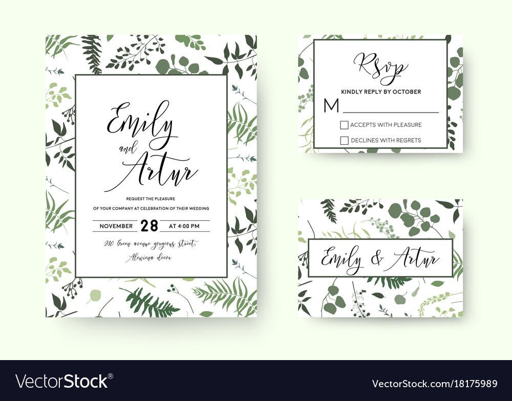 Wedding invite invitation rsvp card floral vector image