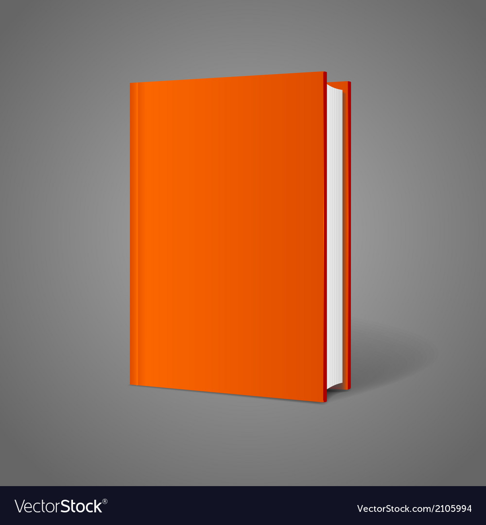 blank book cover perspective orange royalty free vector