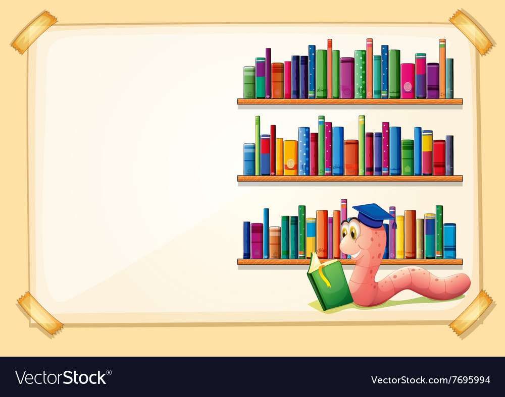 Border design with worm reading book vector image