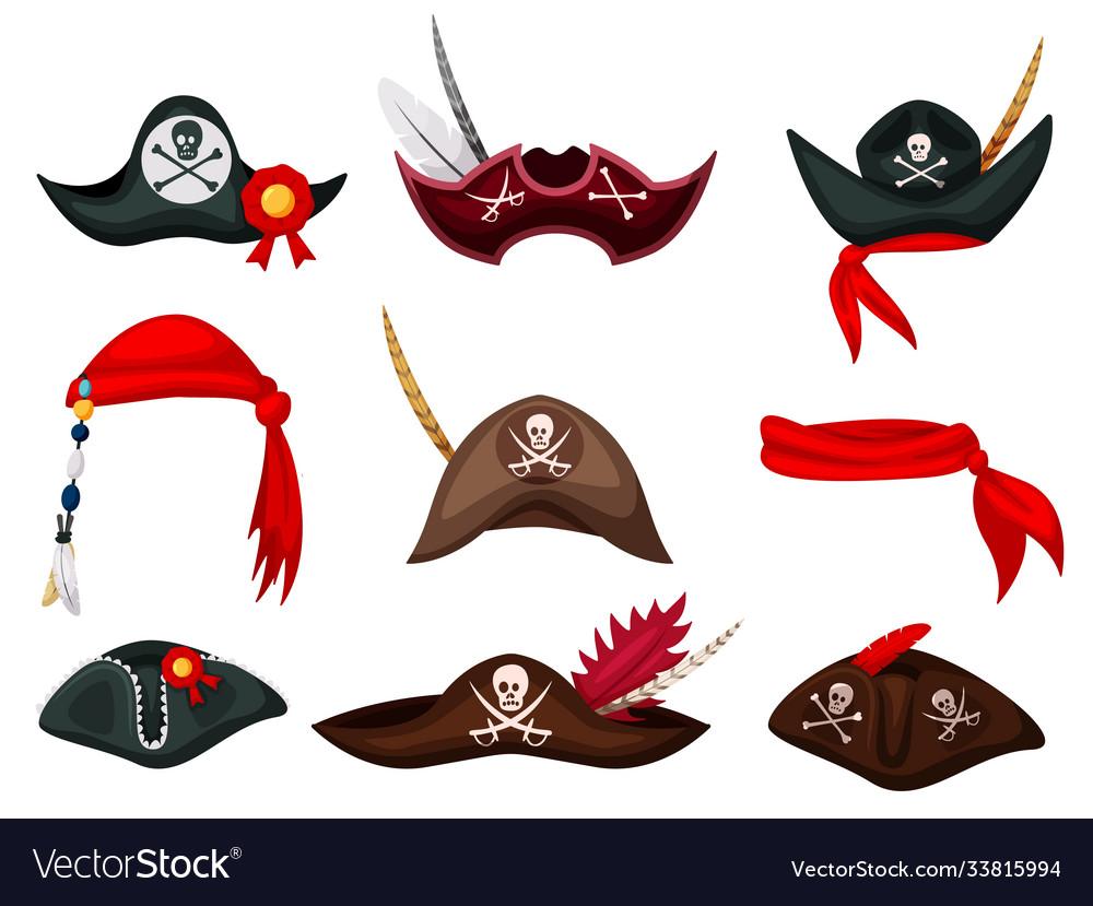 Carnival sea pirate hat and bandana isolated set