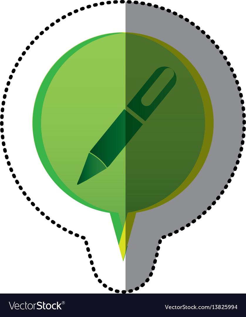 Color sticker with pen icon in circular speech