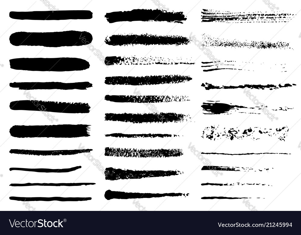 Grunge black rough brush strokes set set of black