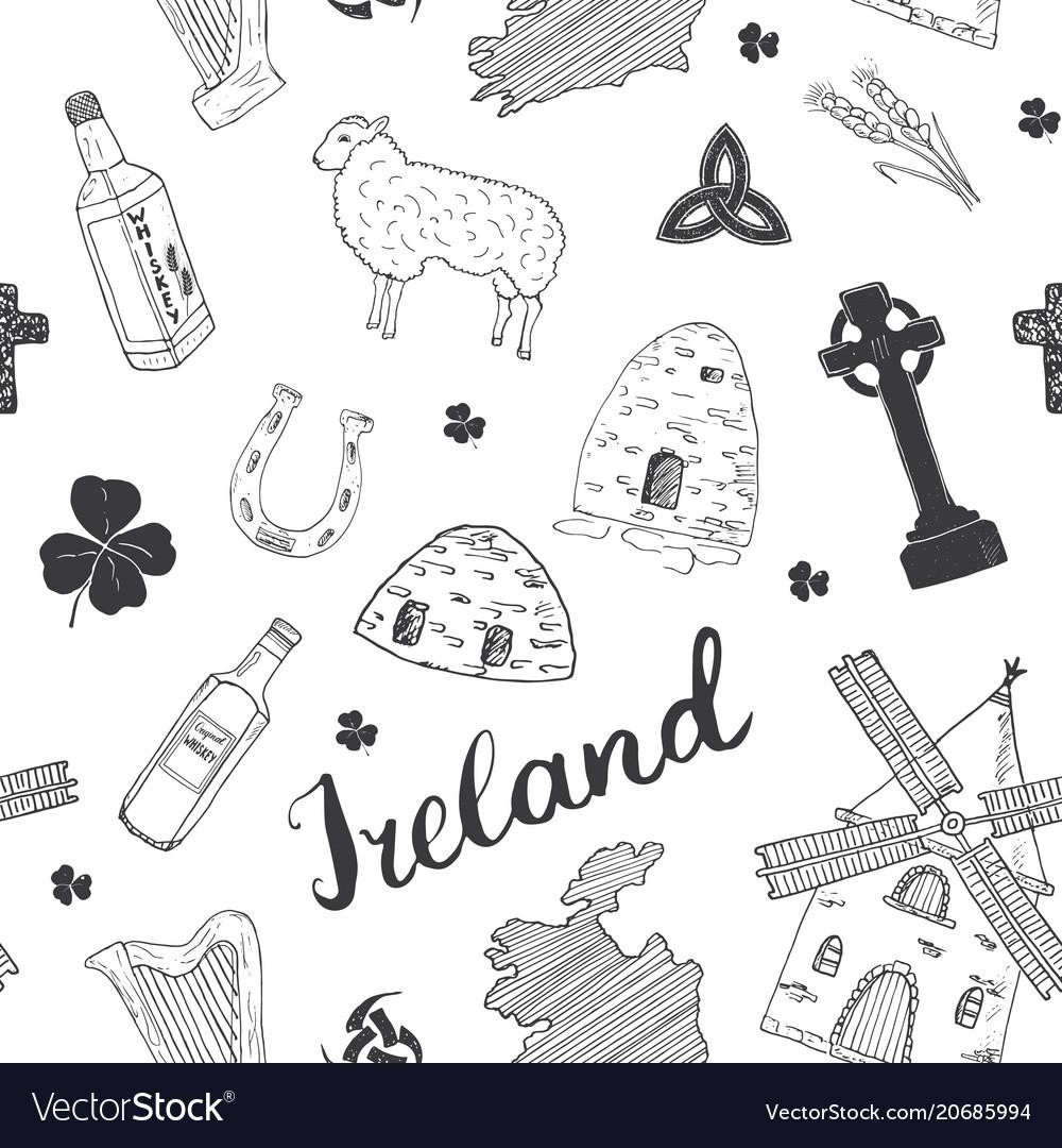 Ireland sketch doodles seamless pattern irish