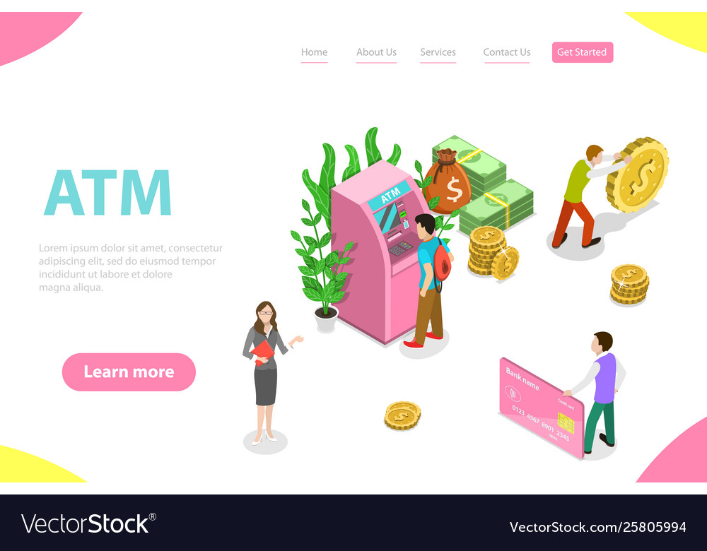 Isometric flat landing page template atm