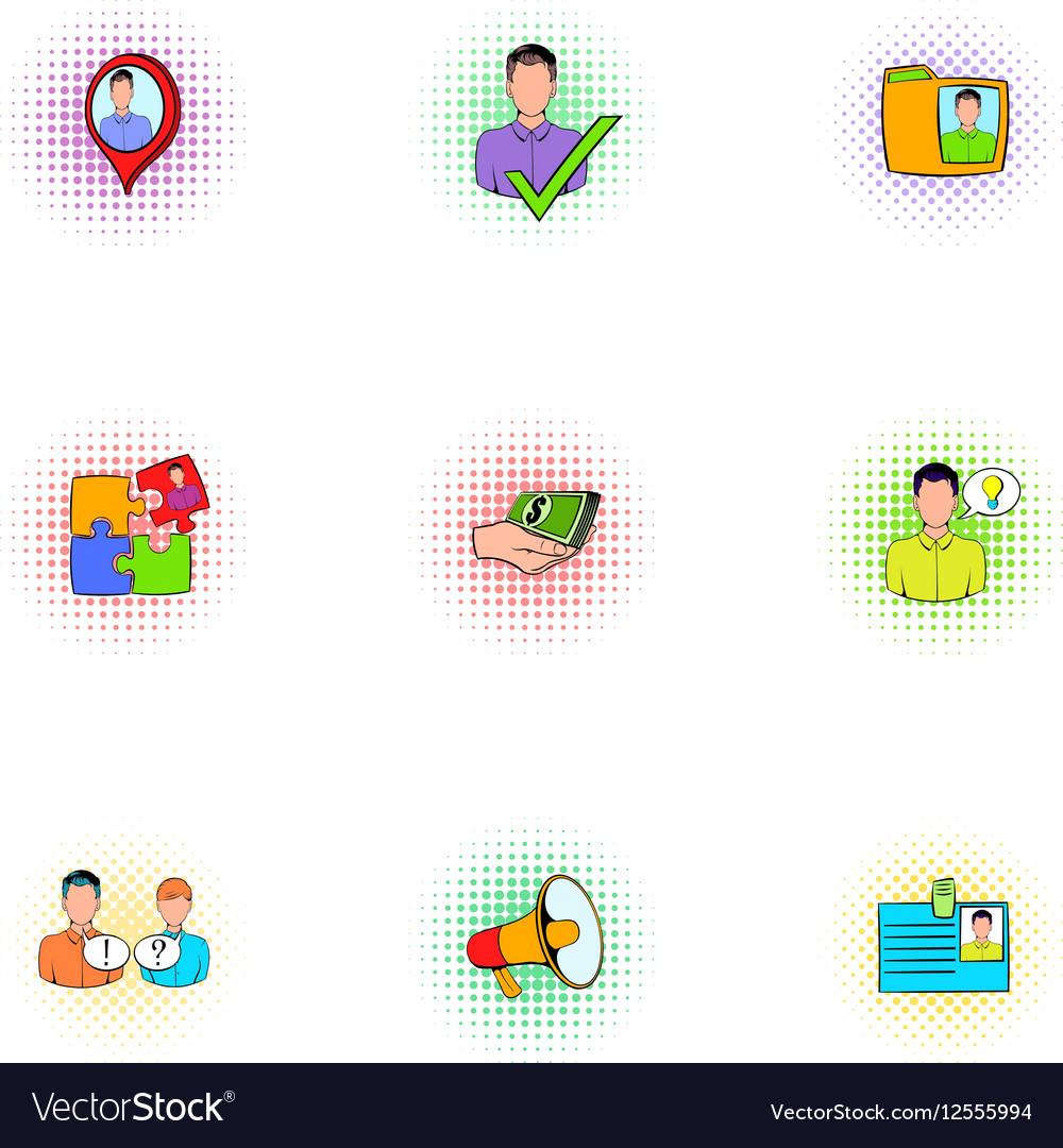 Management icons set pop-art style