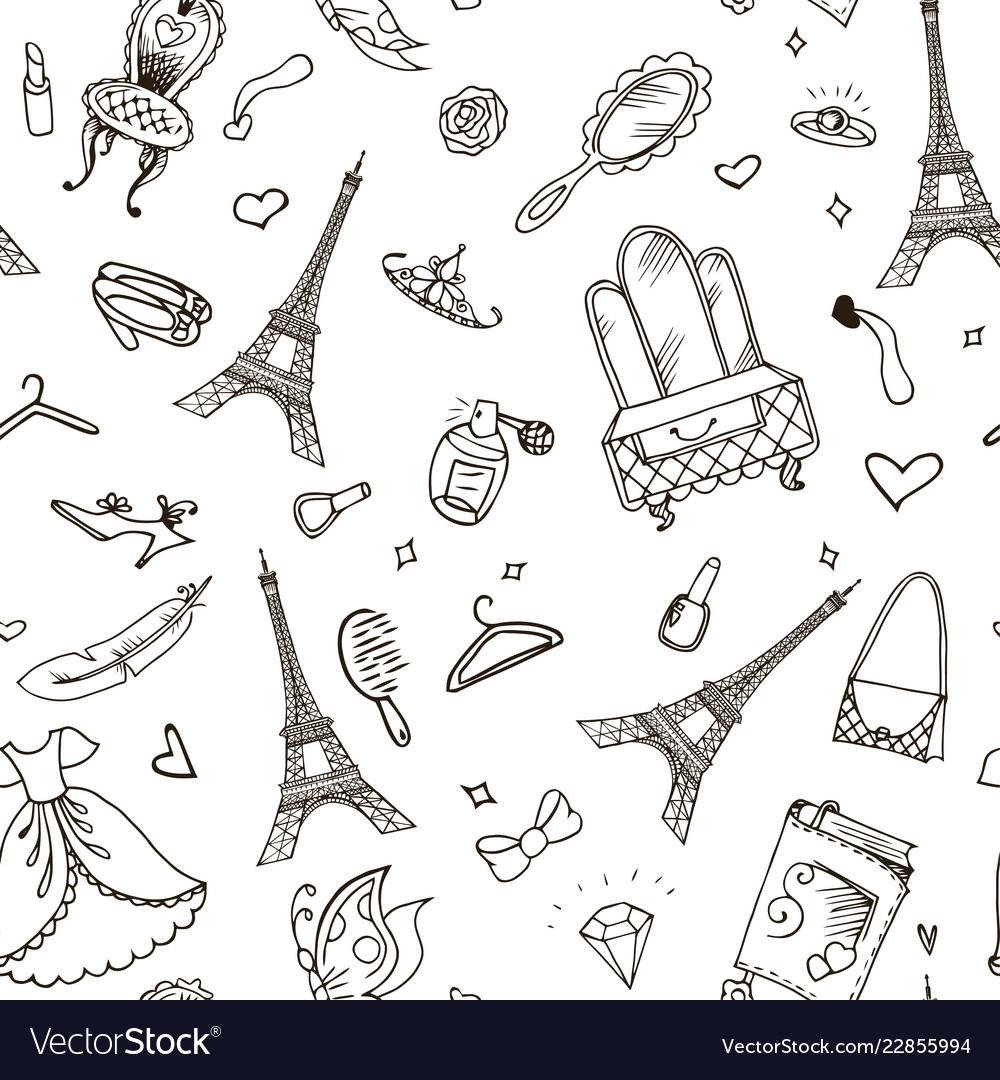 Paris seamless pattern eiffel tower fashion