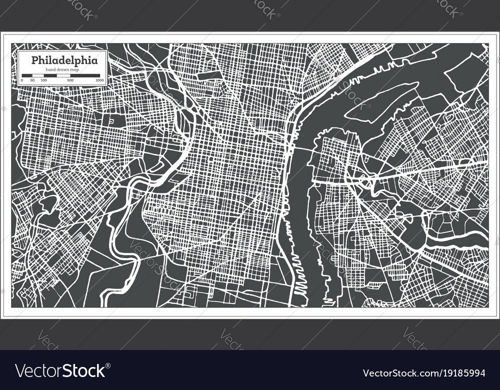 Philadelphia Pennsylvania Usa Map In Retro Style Vector Image